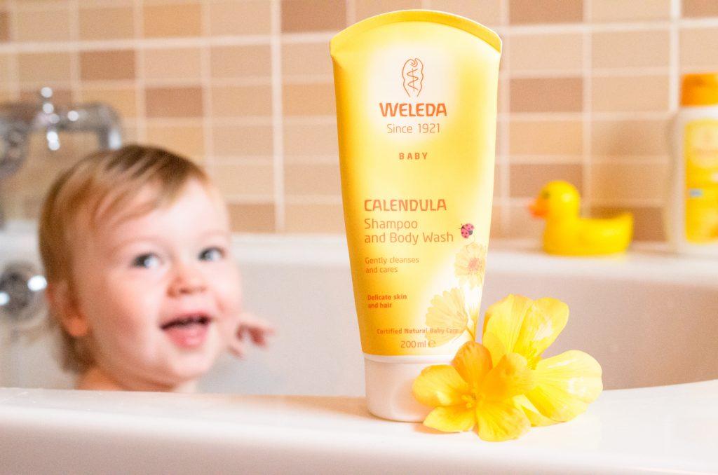 Jonah in the bath using Weleda Calendula Shampoo and Body Wash