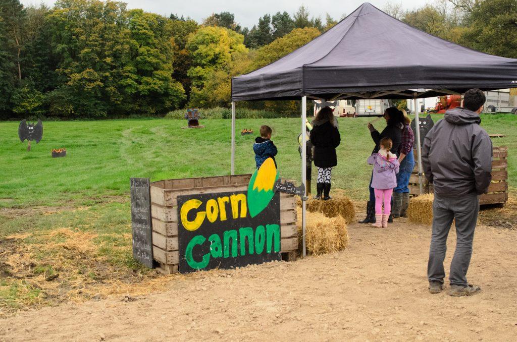 The corn cannon at Birchfield Farm Pumpkin Festival