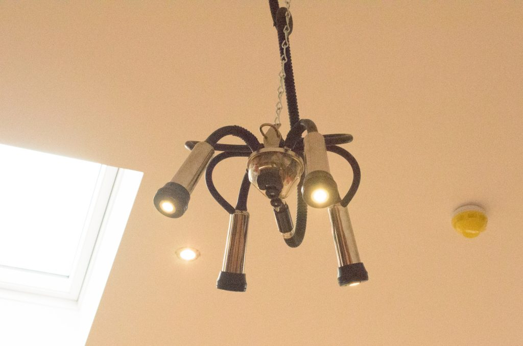 The light fixtures are milking devices