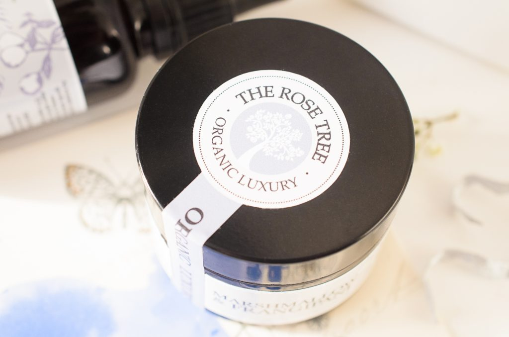 The Rose Tree Intensive Balm with Marshmallow & Frangipani showing brand label