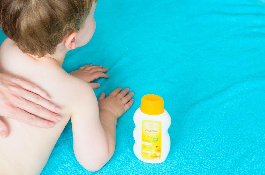 Toddler massage with Weleda Calendula Oil