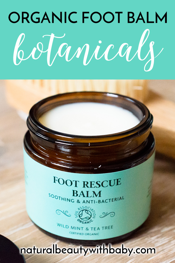 Read my review of refreshing Botanicals Foot Rescue Balm, a natural and organic peppermint and tea tree foot balm to improve the condition of your feet. #naturalskincareproducts #footbalm