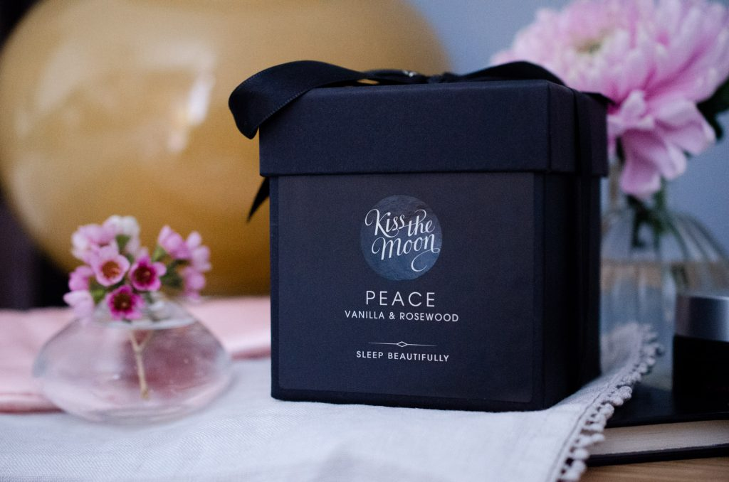 Kiss The Moon Peace Candle in its beautiful box