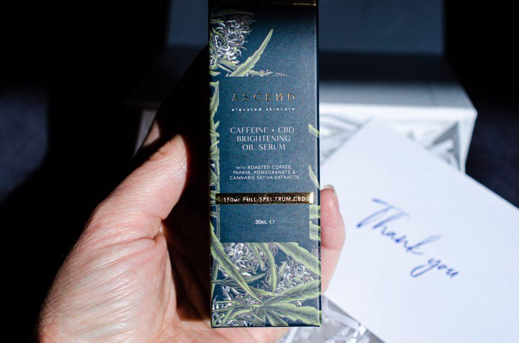 The beautiful box of Caffeine + CBD Brightening Oil Serum