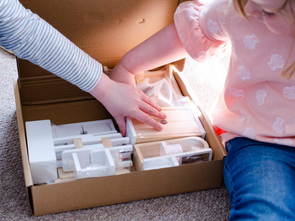 Unpacking the wooden furniture set