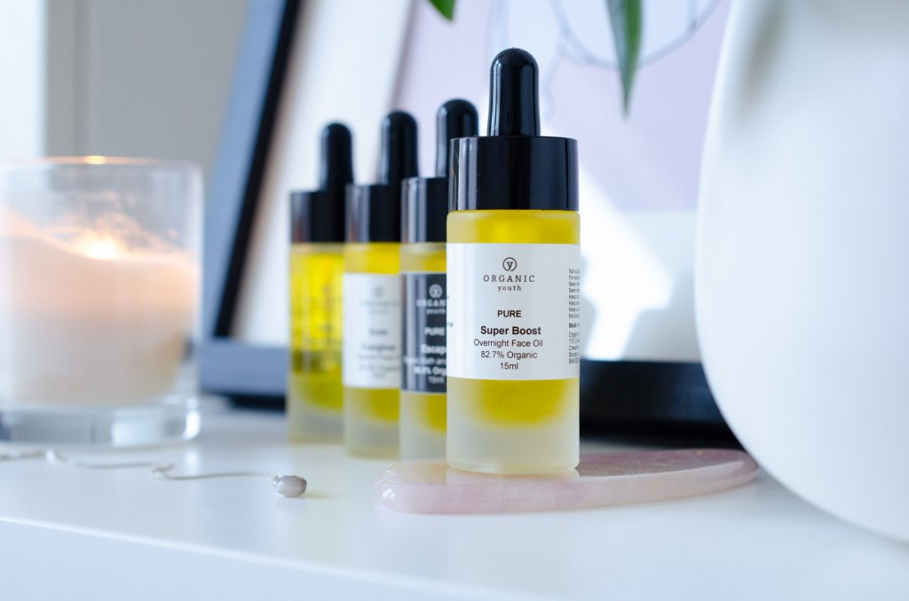 Organic Youth face and body oils collection showing Super Boost