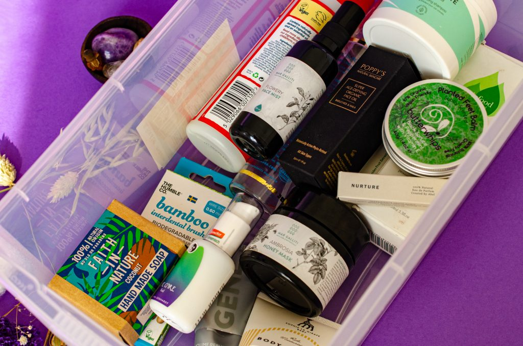 All of my September 2021 natural beauty empties in the box